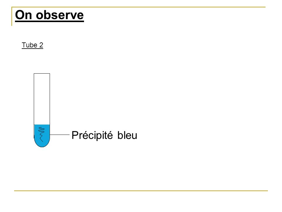 Précipité bleu Tube 2 On observe