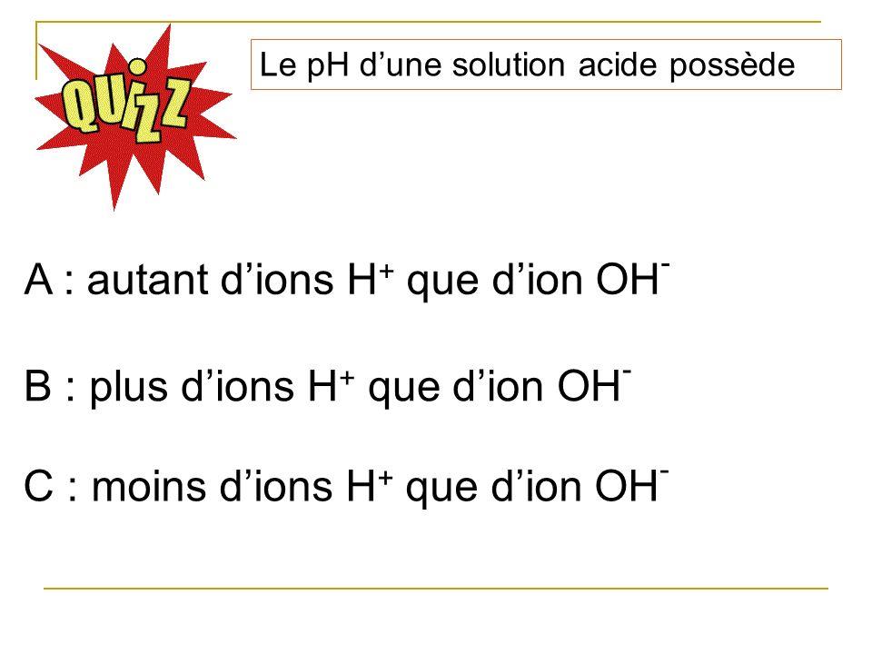 Le pH dune solution acide possède A : autant dions H + que dion OH - B : plus dions H + que dion OH - C : moins dions H + que dion OH -