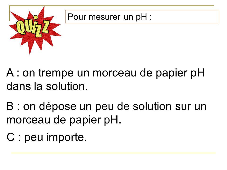 Pour mesurer un pH : A : on trempe un morceau de papier pH dans la solution. B : on dépose un peu de solution sur un morceau de papier pH. C : peu imp