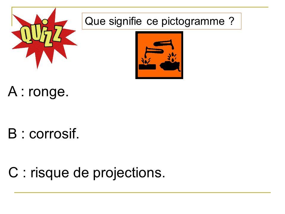 Que signifie ce pictogramme ? A : ronge. B : corrosif. C : risque de projections.