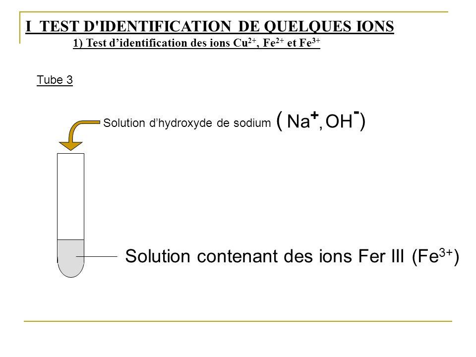 Solution contenant des ions Fer III (Fe 3+ ) Solution dhydroxyde de sodium OH - Na + (, ) I TEST D'IDENTIFICATION DE QUELQUES IONS 1) Test didentifica