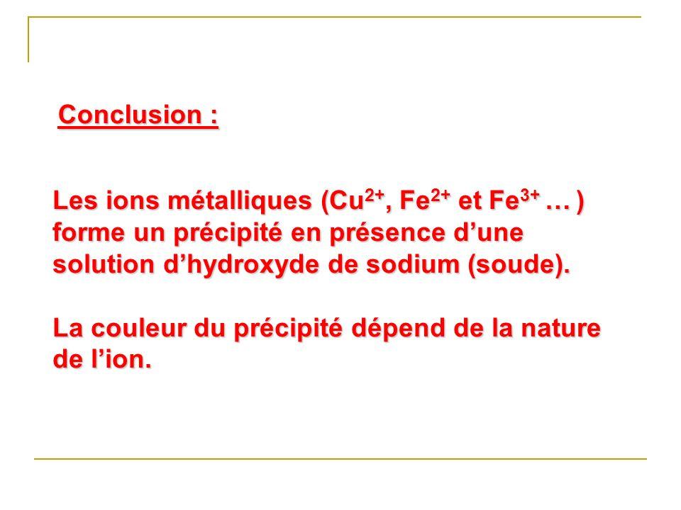 Les ions métalliques (Cu 2+, Fe 2+ et Fe 3+ … ) forme un précipité en présence dune solution dhydroxyde de sodium (soude). La couleur du précipité dép