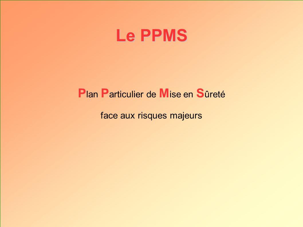 Le PPMS Le P lan P articulier de M ise en S ûreté : Une série de fiches réflexes détaillant les différentes actions à conduire en cas de crise.