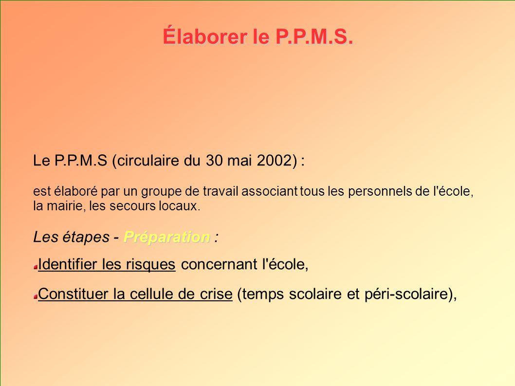 Élaborer le P.P.M.S. Le P.P.M.S (circulaire du 30 mai 2002) : est élaboré par un groupe de travail associant tous les personnels de l'école, la mairie