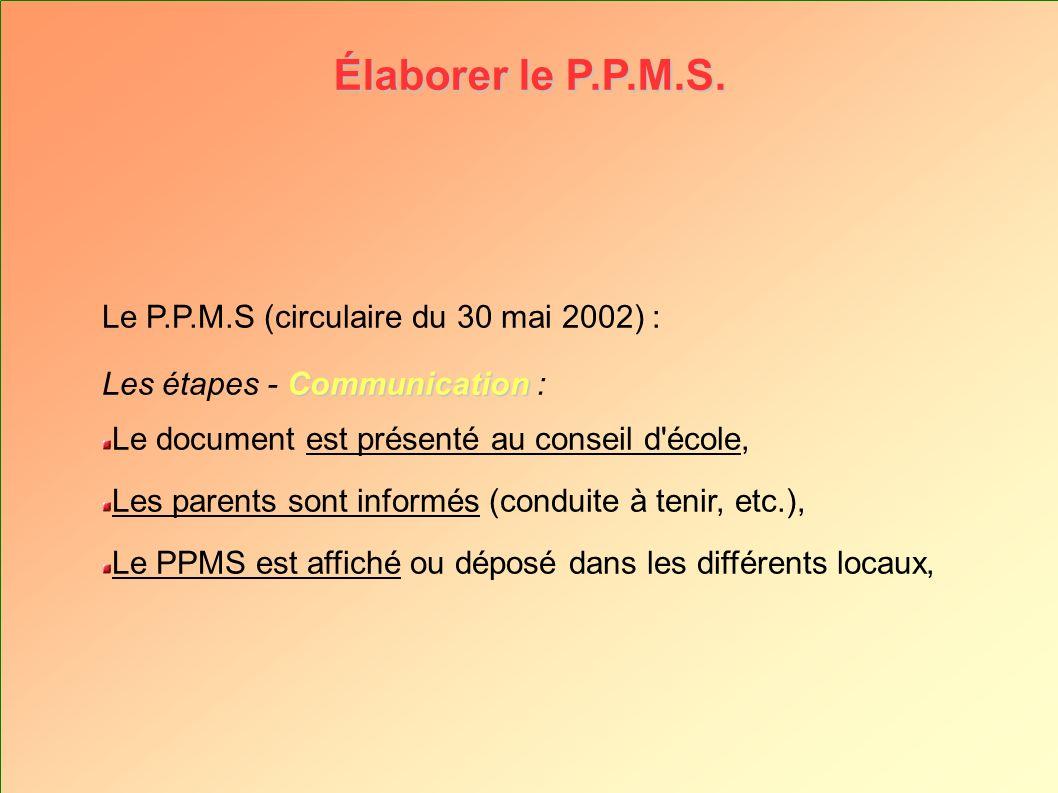 Élaborer le P.P.M.S. Le P.P.M.S (circulaire du 30 mai 2002) : Communication Les étapes - Communication : Le document est présenté au conseil d'école,
