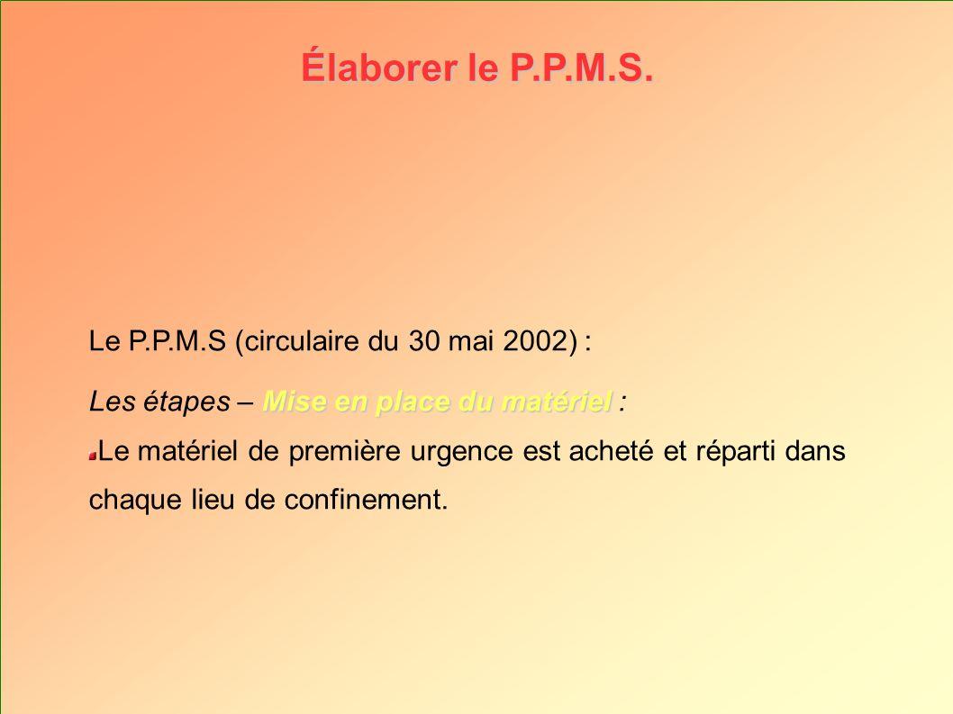 Élaborer le P.P.M.S. Le P.P.M.S (circulaire du 30 mai 2002) : Mise en place du matériel Les étapes – Mise en place du matériel : Le matériel de premiè