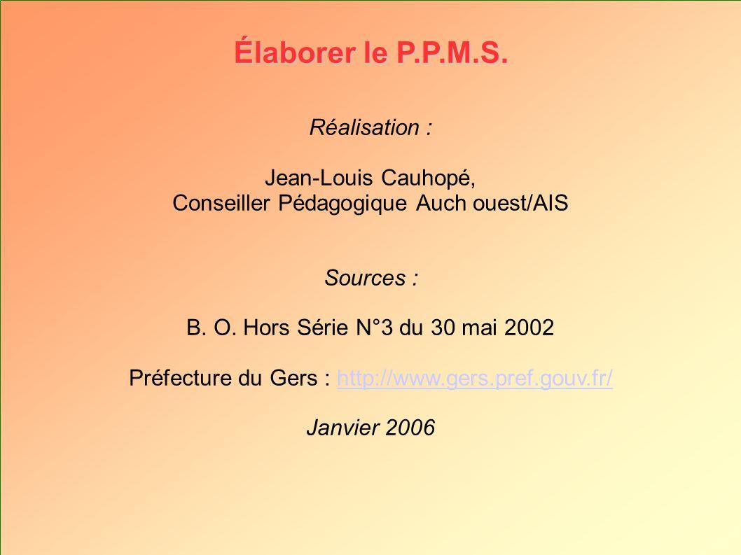 Réalisation : Jean-Louis Cauhopé, Conseiller Pédagogique Auch ouest/AIS Sources : B. O. Hors Série N°3 du 30 mai 2002 Préfecture du Gers : http://www.