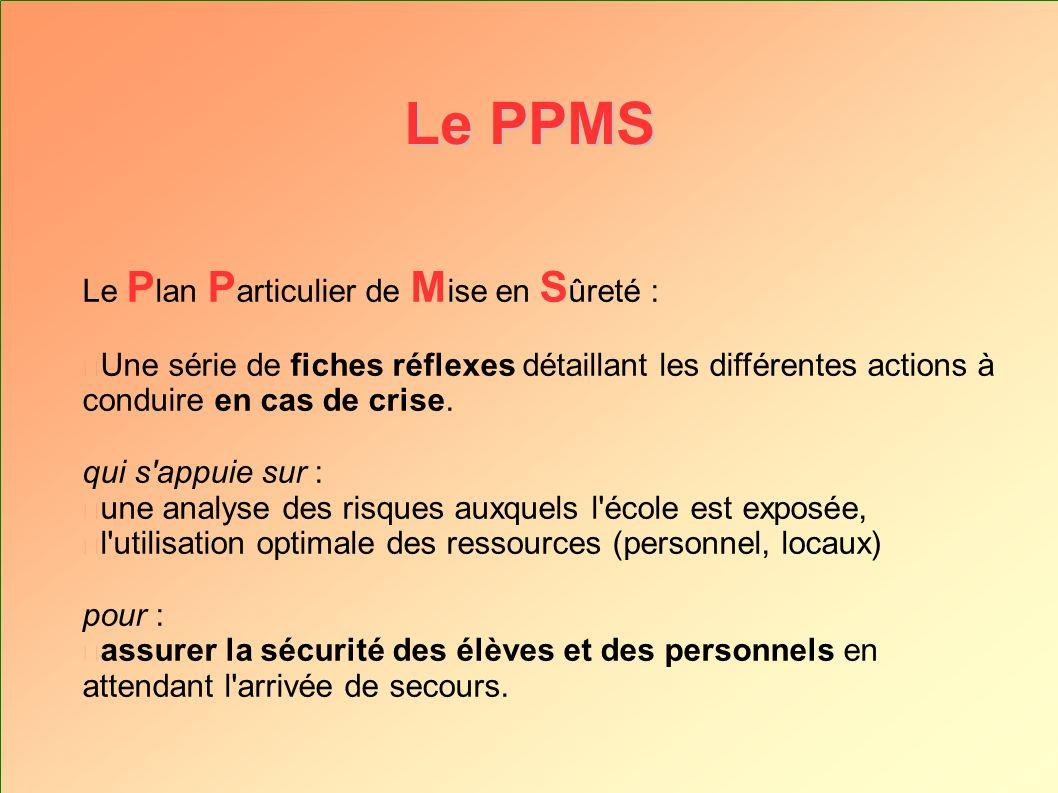Le PPMS Le P lan P articulier de M ise en S ûreté : Une série de fiches réflexes détaillant les différentes actions à conduire en cas de crise. qui s'