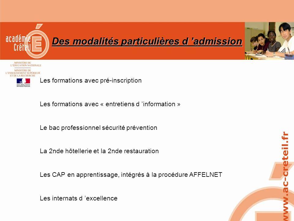SAIO/MG-PL REUNION 15 MARS 2010 Des modalités particulières d admission Les formations avec pré-inscription Les formations avec « entretiens d informa