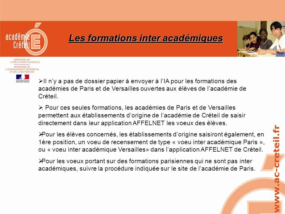 SAIO/MG-PL REUNION 15 MARS 2010 Les formations inter académiques Il ny a pas de dossier papier à envoyer à lIA pour les formations des académies de Pa