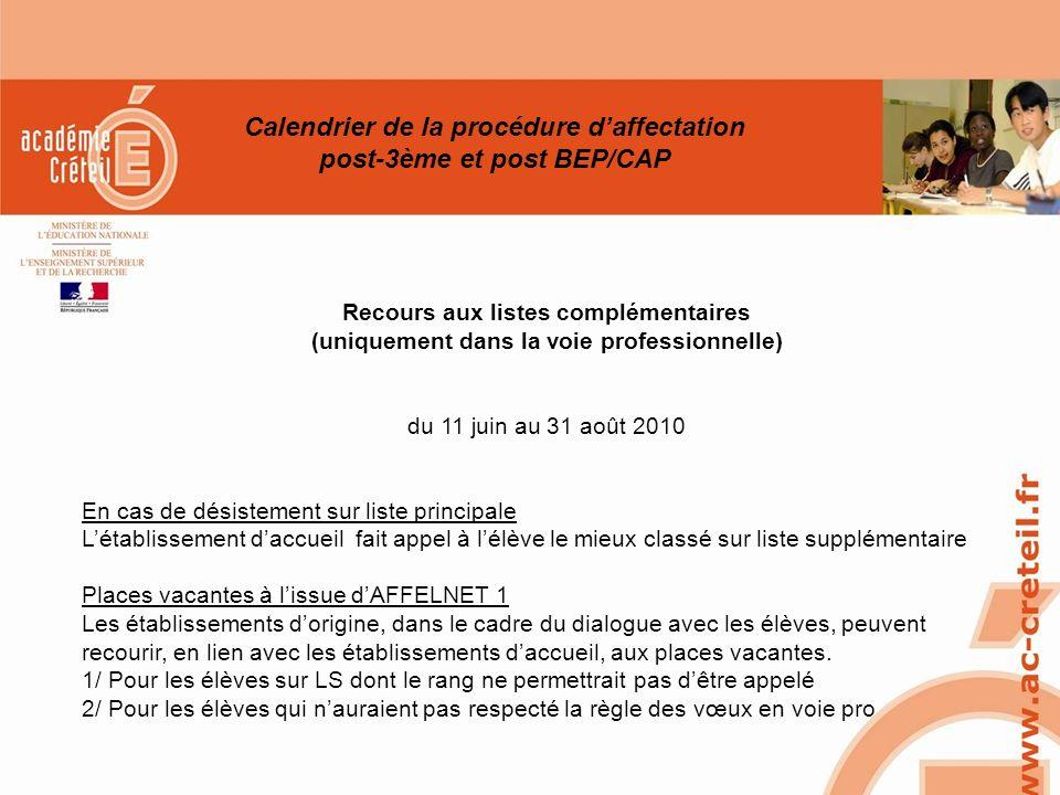 SAIO/MG-PL REUNION 15 MARS 2010 Recours aux listes complémentaires (uniquement dans la voie professionnelle) du 11 juin au 31 août 2010 En cas de dési