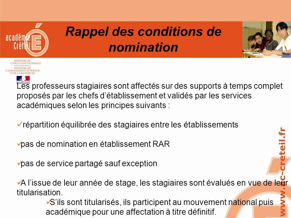 SAIO/MG-PL REUNION 15 MARS 2010 Rappel des conditions de nomination Les professeurs stagiaires sont affectés sur des supports à temps complet proposés