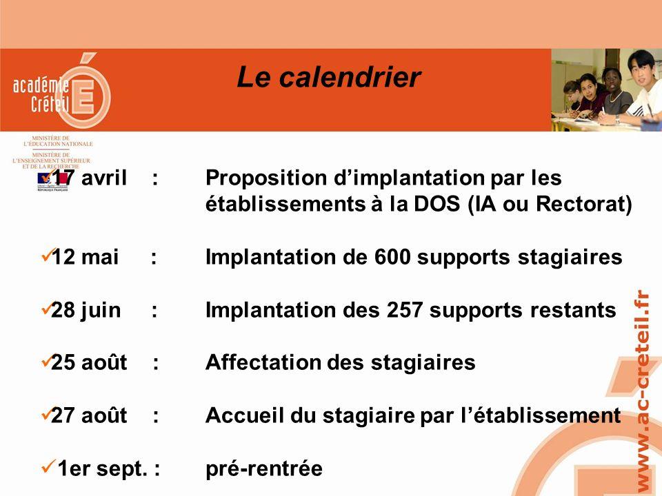 SAIO/MG-PL REUNION 15 MARS 2010 Le calendrier 17 avril :Proposition dimplantation par les établissements à la DOS (IA ou Rectorat) 12 mai :Implantatio