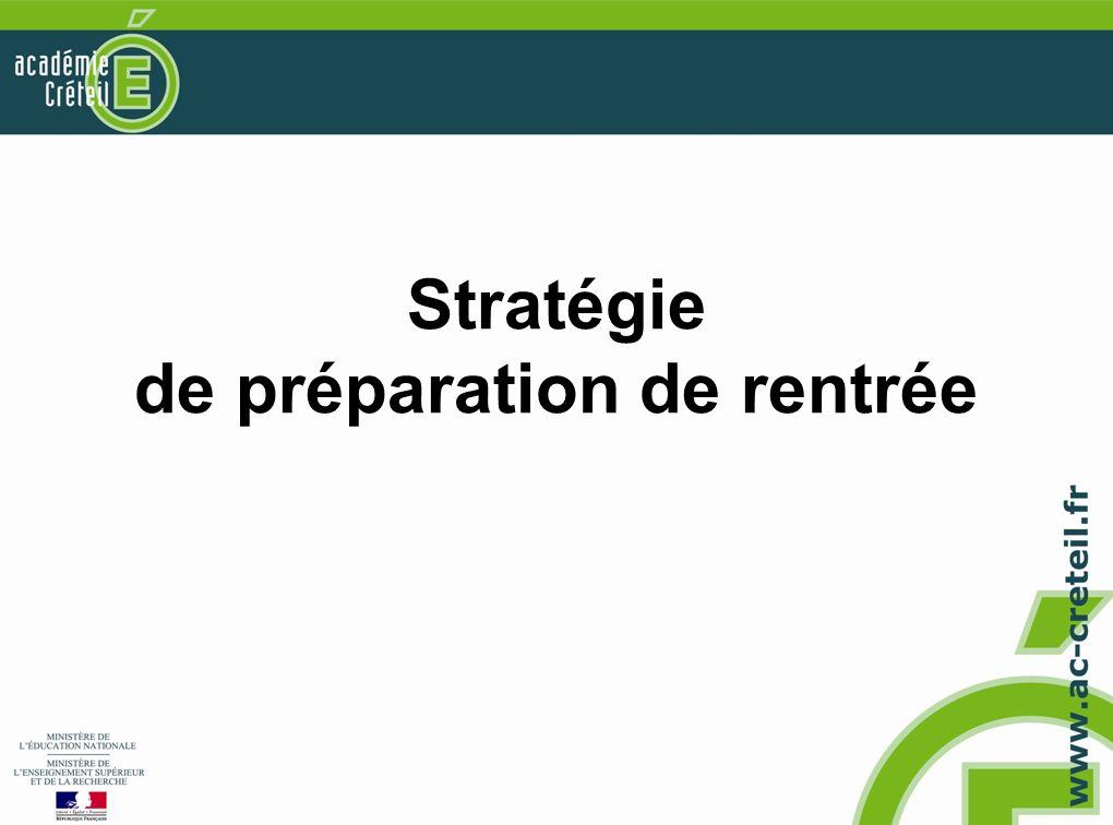 Stratégie de préparation de rentrée