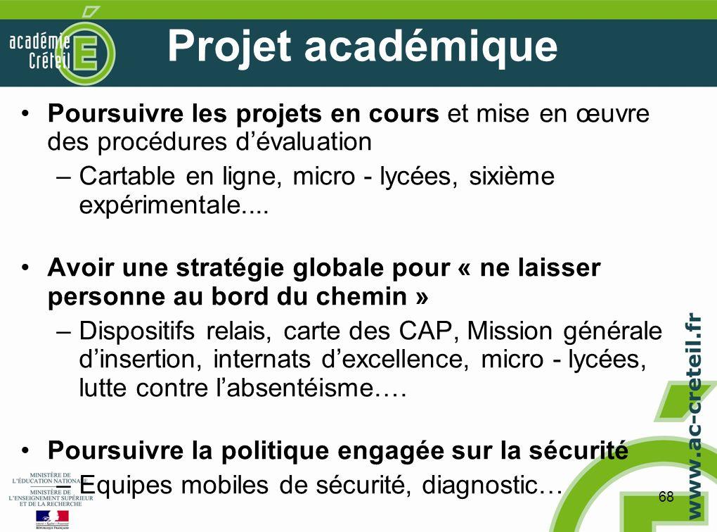 68 Projet académique Poursuivre les projets en cours et mise en œuvre des procédures dévaluation –Cartable en ligne, micro - lycées, sixième expérimentale....