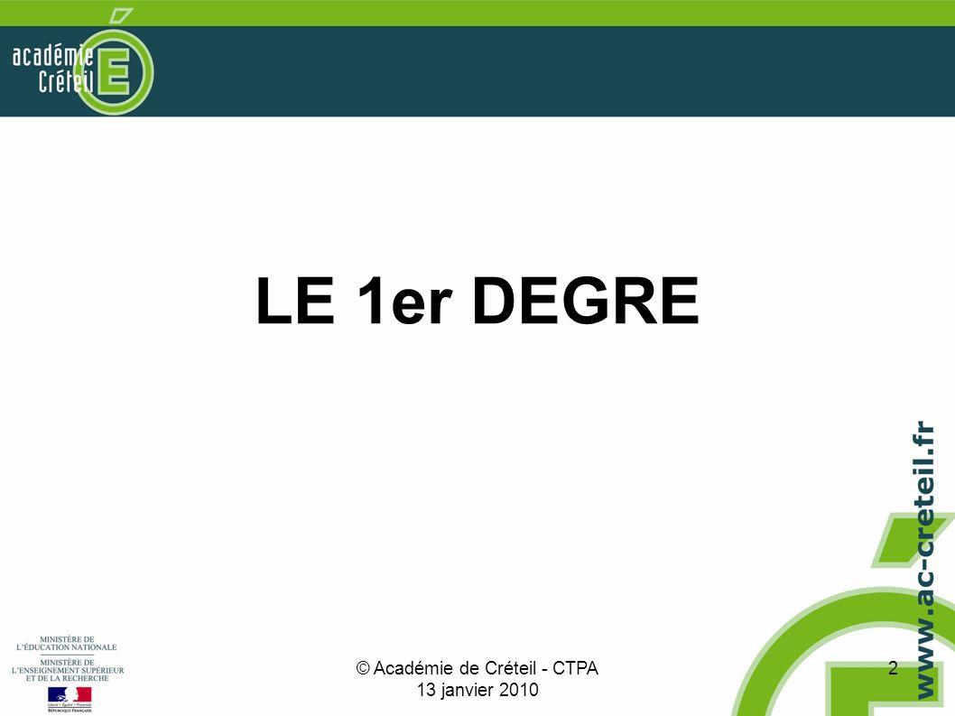 © Académie de Créteil - CTPA 13 janvier 2010 2 LE 1er DEGRE