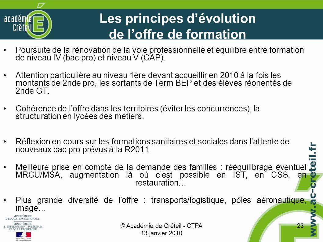 © Académie de Créteil - CTPA 13 janvier 2010 23 Les principes dévolution de loffre de formation Poursuite de la rénovation de la voie professionnelle et équilibre entre formation de niveau IV (bac pro) et niveau V (CAP).