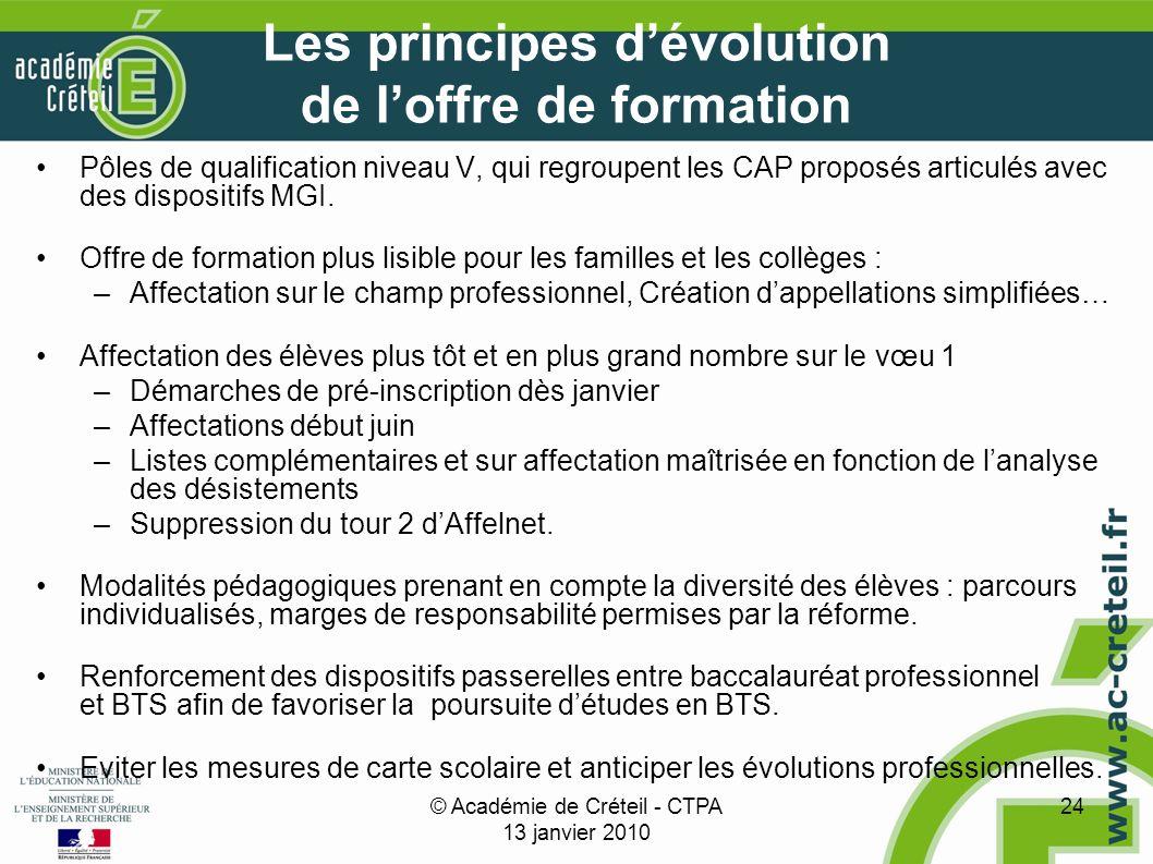 © Académie de Créteil - CTPA 13 janvier 2010 24 Les principes dévolution de loffre de formation Pôles de qualification niveau V, qui regroupent les CAP proposés articulés avec des dispositifs MGI.