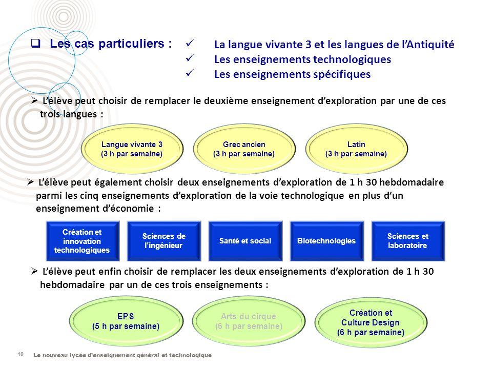 Le nouveau lycée denseignement général et technologique 10 Langue vivante 3 (3 h par semaine) Grec ancien (3 h par semaine) Latin (3 h par semaine) Lé