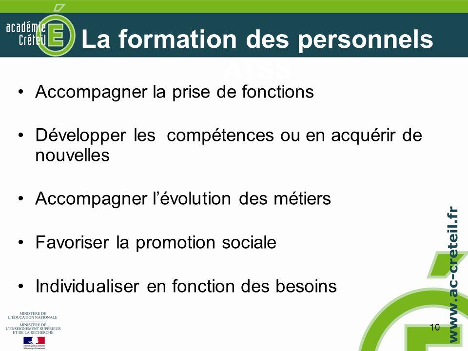 10 La formation des personnels ATSS Accompagner la prise de fonctions Développer les compétences ou en acquérir de nouvelles Accompagner lévolution des métiers Favoriser la promotion sociale Individualiser en fonction des besoins
