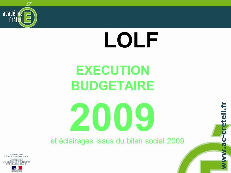 LOLF EXECUTION BUDGETAIRE 2009 et éclairages issus du bilan social 2009