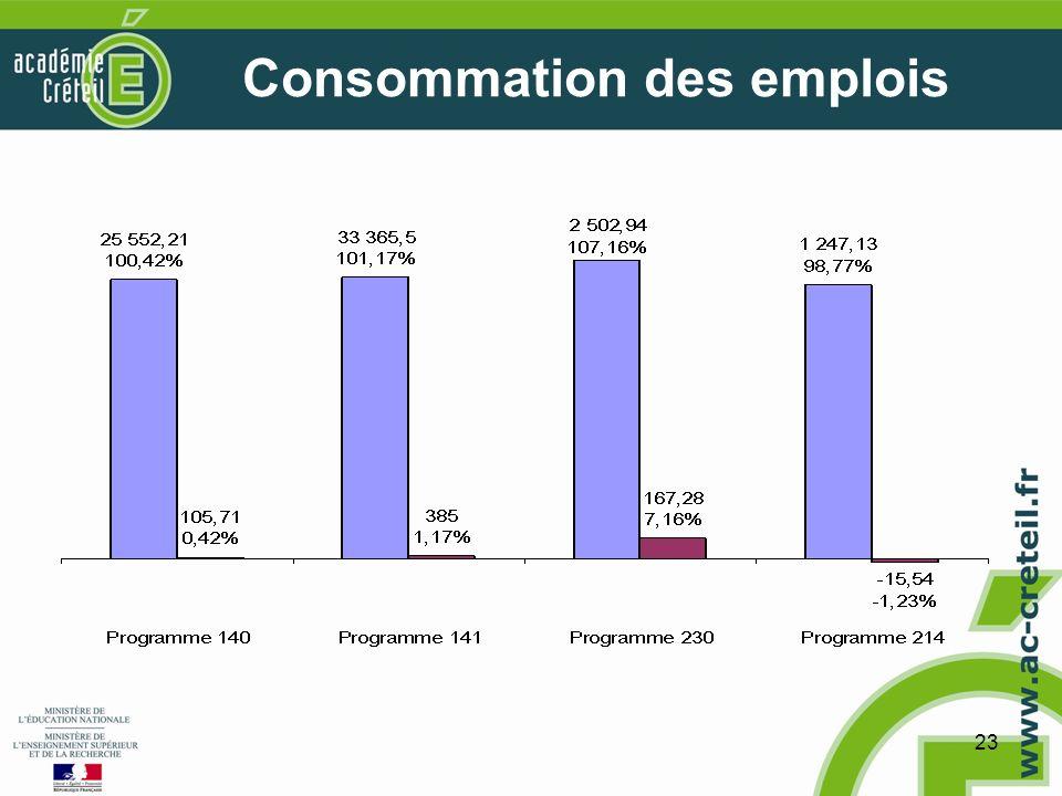 23 Consommation des emplois