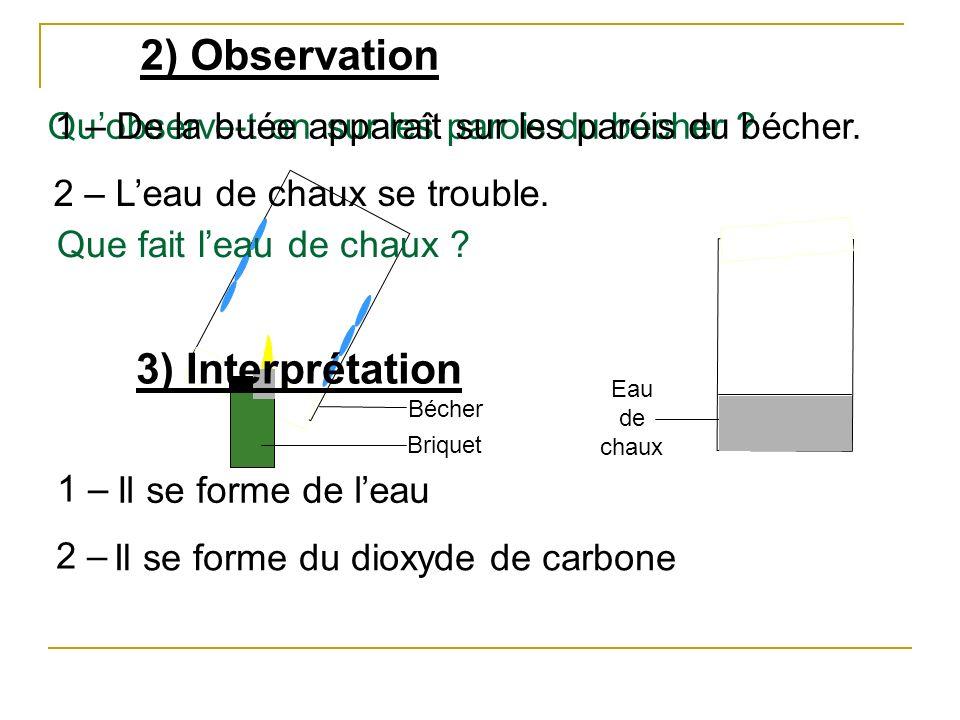2) Observation Briquet Bécher Eau de chaux Quobserve-t-on sur les parois du bécher ? Que fait leau de chaux ? 1 – De la buée apparaît sur les parois d