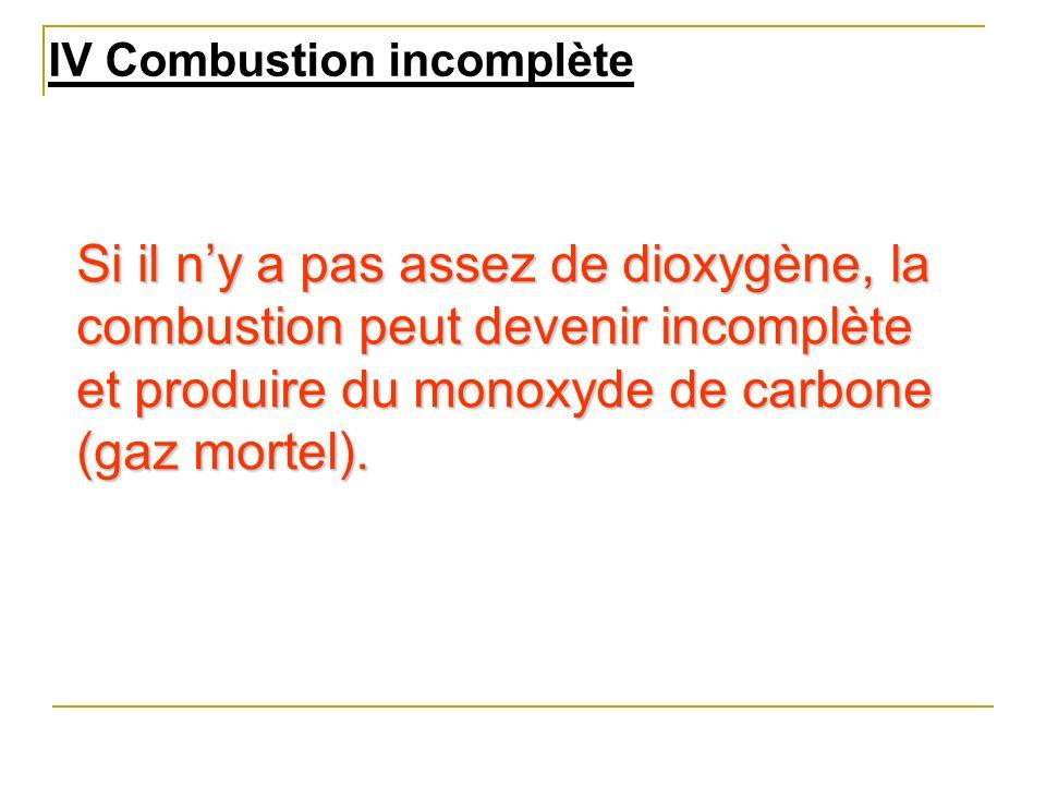 IV Combustion incomplète Si il ny a pas assez de dioxygène, la combustion peut devenir incomplète et produire du monoxyde de carbone (gaz mortel).