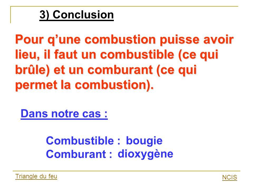 3) Conclusion Pour qune combustion puisse avoir lieu, il faut un combustible (ce qui brûle) et un comburant (ce qui permet la combustion). Dans notre