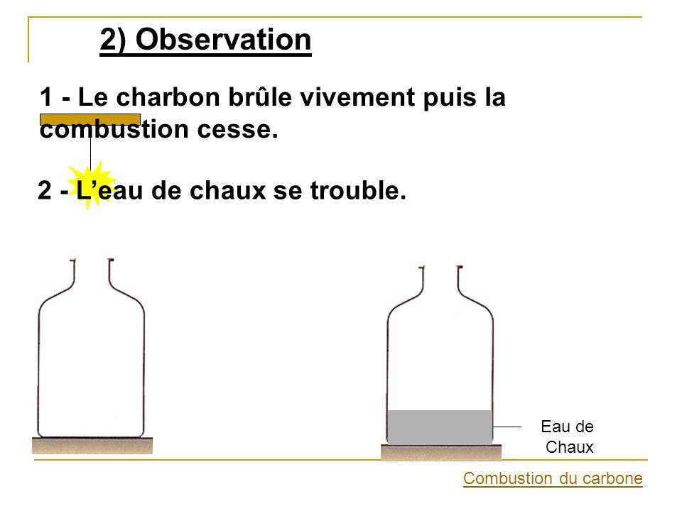 2) Observation 1 - Le charbon brûle vivement puis la combustion cesse. 2 - Leau de chaux se trouble. Combustion du carbone Eau de Chaux