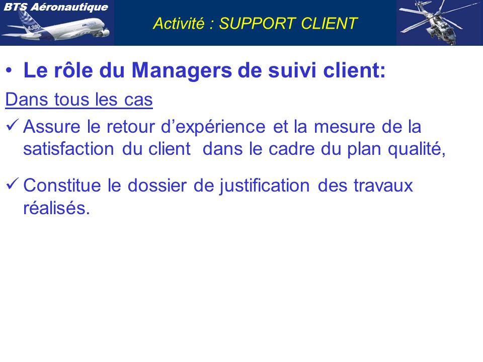 BTS Aéronautique Activité : SUPPORT CLIENT Le rôle du Managers de suivi client: Dans tous les cas Assure le retour dexpérience et la mesure de la sati