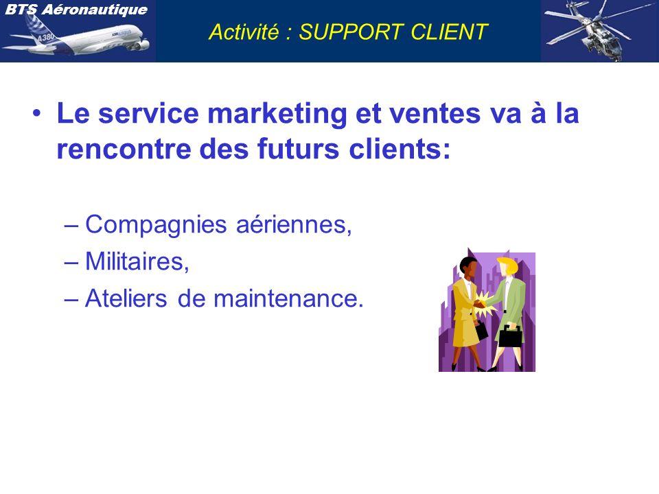 BTS Aéronautique Activité : SUPPORT CLIENT Le service marketing et ventes va à la rencontre des futurs clients: –Compagnies aériennes, –Militaires, –A