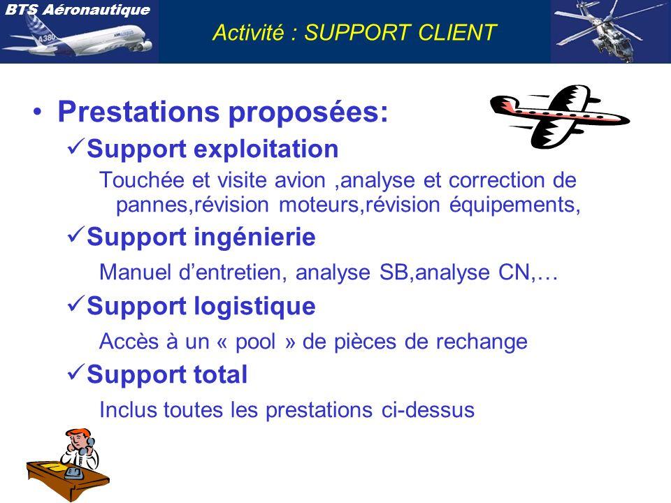 BTS Aéronautique Activité : SUPPORT CLIENT Les services support clients sont répartis dans les différentes activités: Direction entretien avion Direction entretien moteurs Direction entretien équipements et services