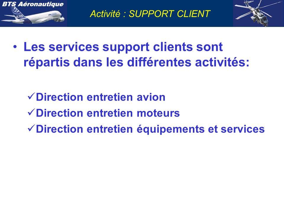 BTS Aéronautique Activité : SUPPORT CLIENT Les services support clients sont répartis dans les différentes activités: Direction entretien avion Direct