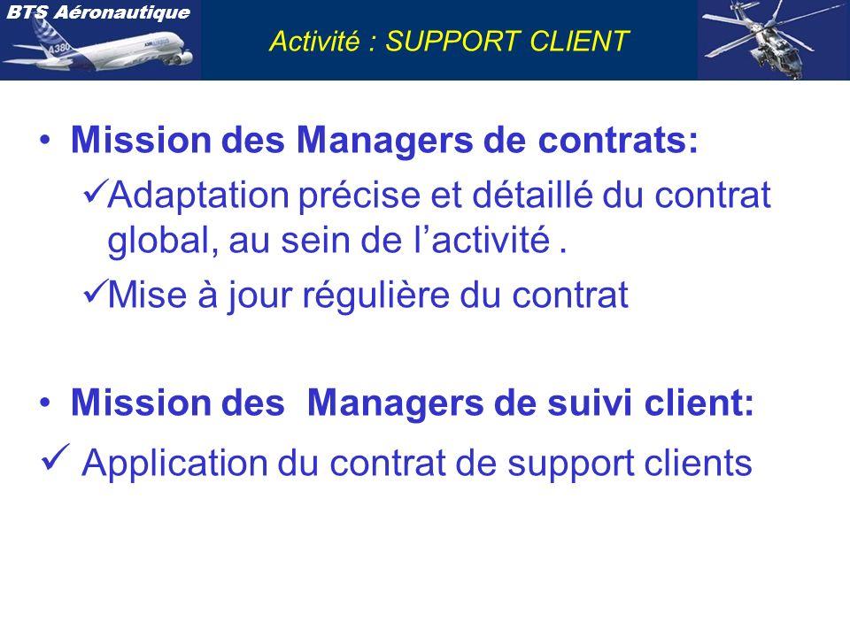 BTS Aéronautique Activité : SUPPORT CLIENT Mission des Managers de contrats: Adaptation précise et détaillé du contrat global, au sein de lactivité. M