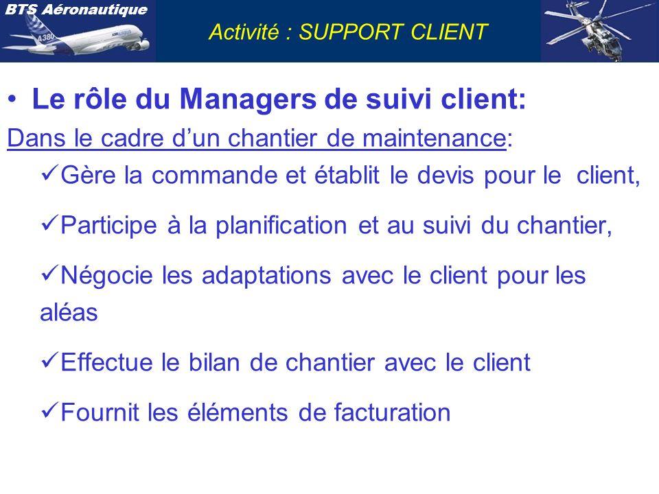 BTS Aéronautique Activité : SUPPORT CLIENT Le rôle du Managers de suivi client: Dans le cadre dun chantier de maintenance: Gère la commande et établit