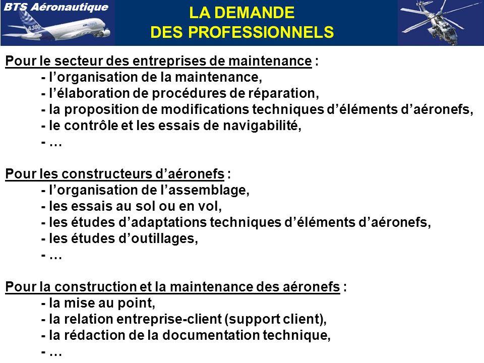 BTS Aéronautique Pour le secteur des entreprises de maintenance : - lorganisation de la maintenance, - lélaboration de procédures de réparation, - la proposition de modifications techniques déléments daéronefs, - le contrôle et les essais de navigabilité, - … Pour les constructeurs daéronefs : - lorganisation de lassemblage, - les essais au sol ou en vol, - les études dadaptations techniques déléments daéronefs, - les études doutillages, - … Pour la construction et la maintenance des aéronefs : - la mise au point, - la relation entreprise-client (support client), - la rédaction de la documentation technique, - … LA DEMANDE DES PROFESSIONNELS