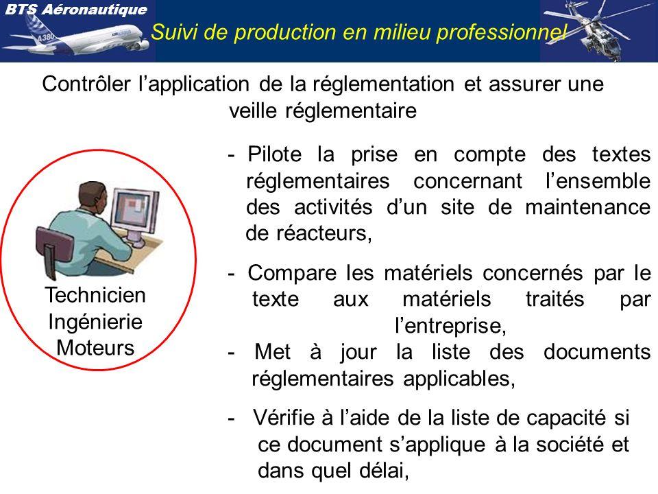 BTS Aéronautique Suivi de production en milieu professionnel Contrôler lapplication de la réglementation et assurer une veille réglementaire Technicie