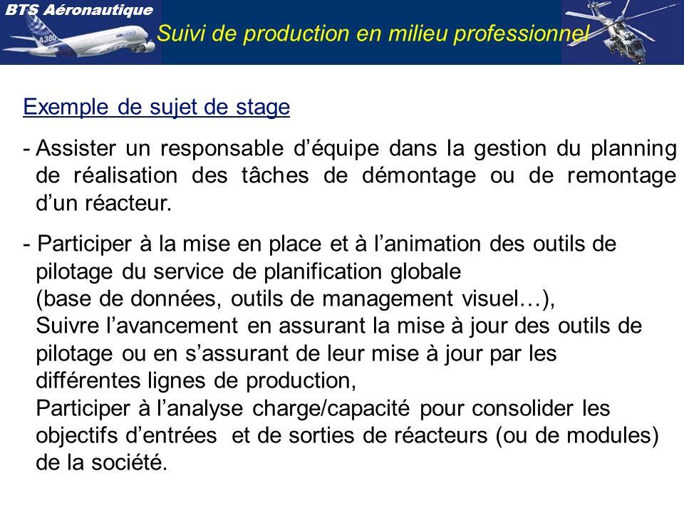 BTS Aéronautique Suivi de production en milieu professionnel Exemple de sujet de stage - Assister un responsable déquipe dans la gestion du planning de réalisation des tâches de démontage ou de remontage dun réacteur.