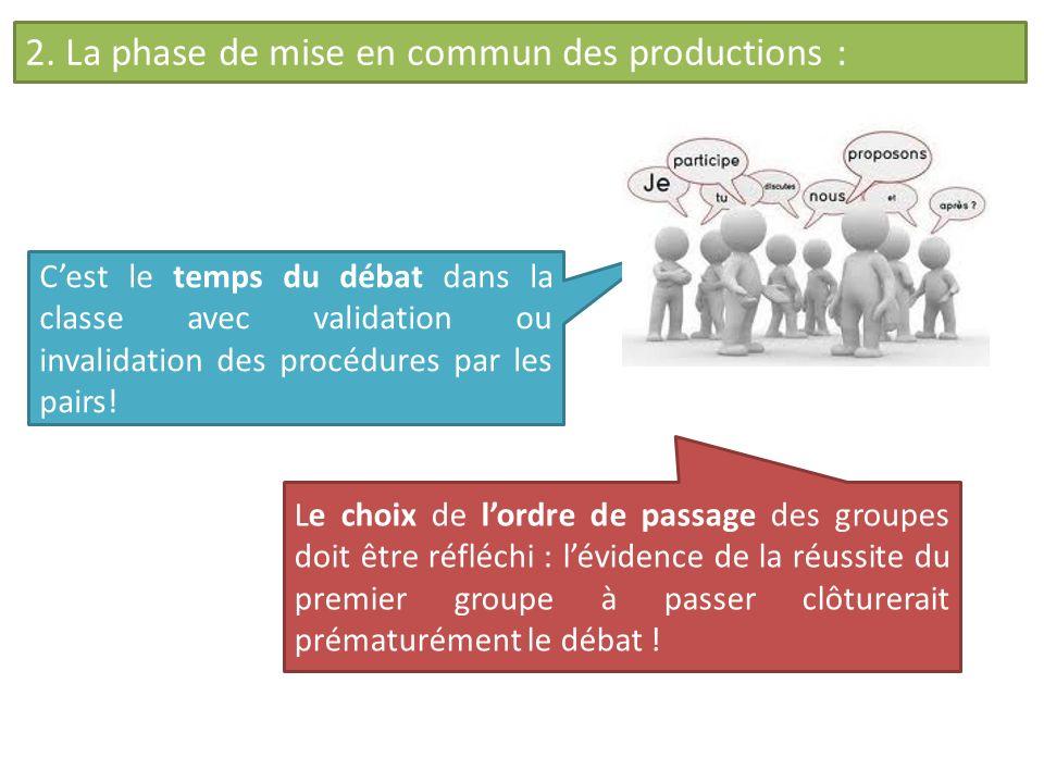 2. La phase de mise en commun des productions : Le choix de lordre de passage des groupes doit être réfléchi : lévidence de la réussite du premier gro