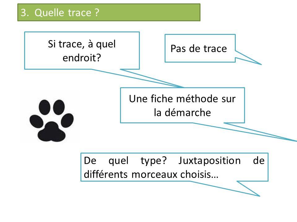 Si trace, à quel endroit? Une fiche méthode sur la démarche De quel type? Juxtaposition de différents morceaux choisis… Pas de trace 3. Quelle trace ?