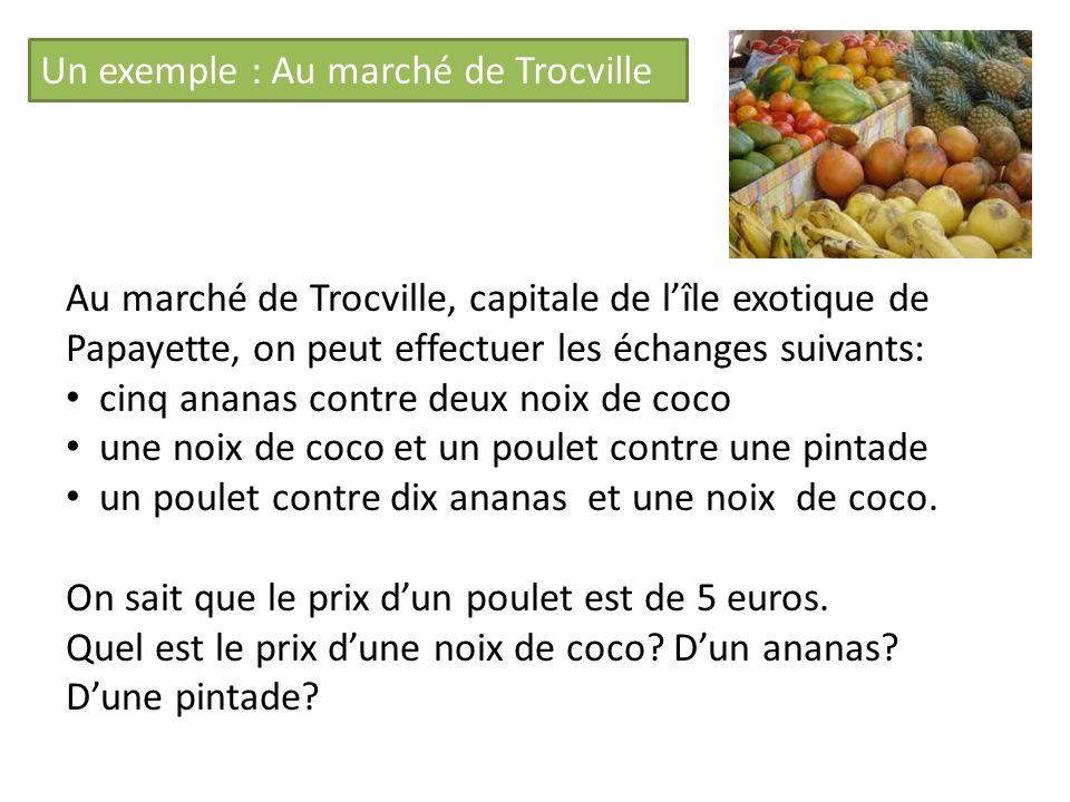 Un exemple : Au marché de Trocville Au marché de Trocville, capitale de lîle exotique de Papayette, on peut effectuer les échanges suivants: cinq ananas contre deux noix de coco une noix de coco et un poulet contre une pintade un poulet contre dix ananas et une noix de coco.