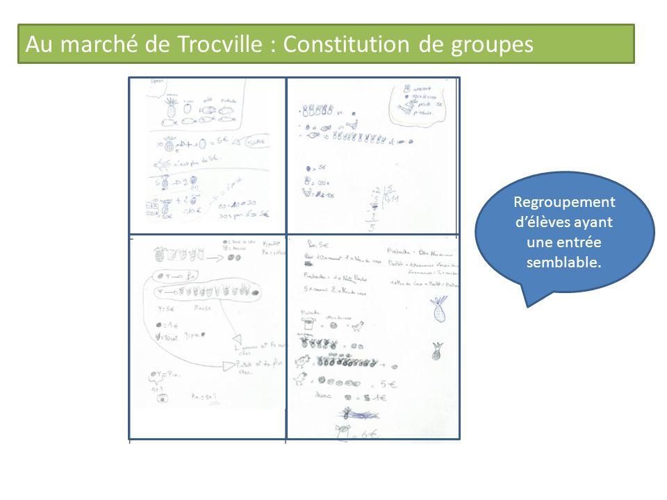 Au marché de Trocville : Constitution de groupes Regroupement délèves ayant une entrée semblable.