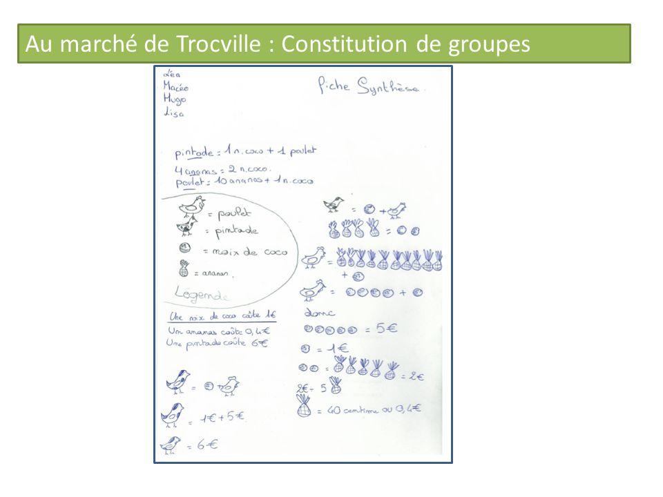 Au marché de Trocville : Constitution de groupes