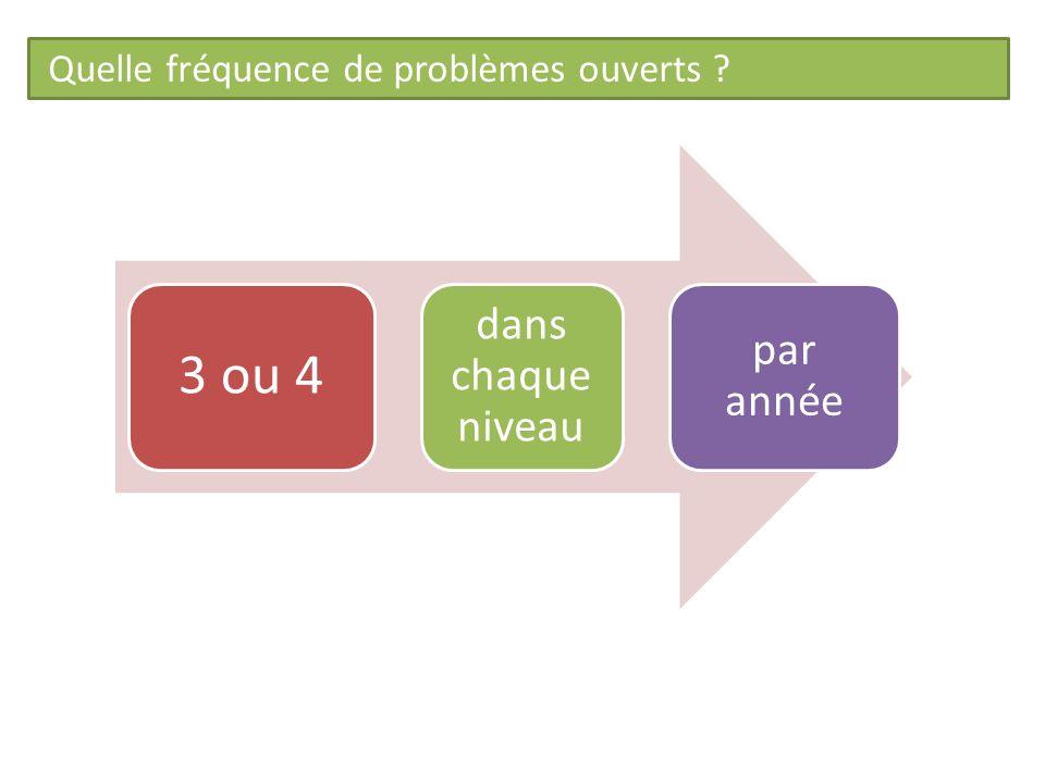 Quelle fréquence de problèmes ouverts ? 3 ou 4 dans chaque niveau par année