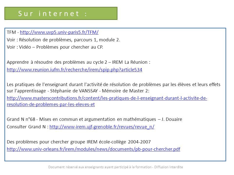 Sur internet : TFM - http://www.uvp5.univ-paris5.fr/TFM/http://www.uvp5.univ-paris5.fr/TFM/ Voir : Résolution de problèmes, parcours 1, module 2. Voir