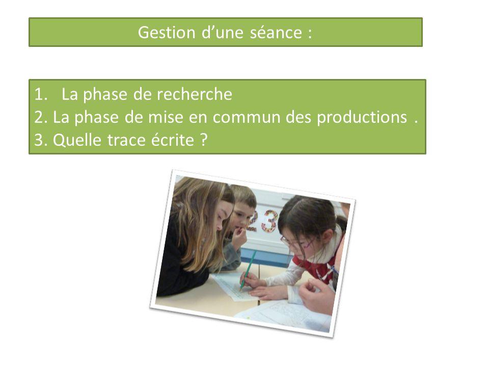 Gestion dune séance : 1.La phase de recherche 2. La phase de mise en commun des productions. 3. Quelle trace écrite ?
