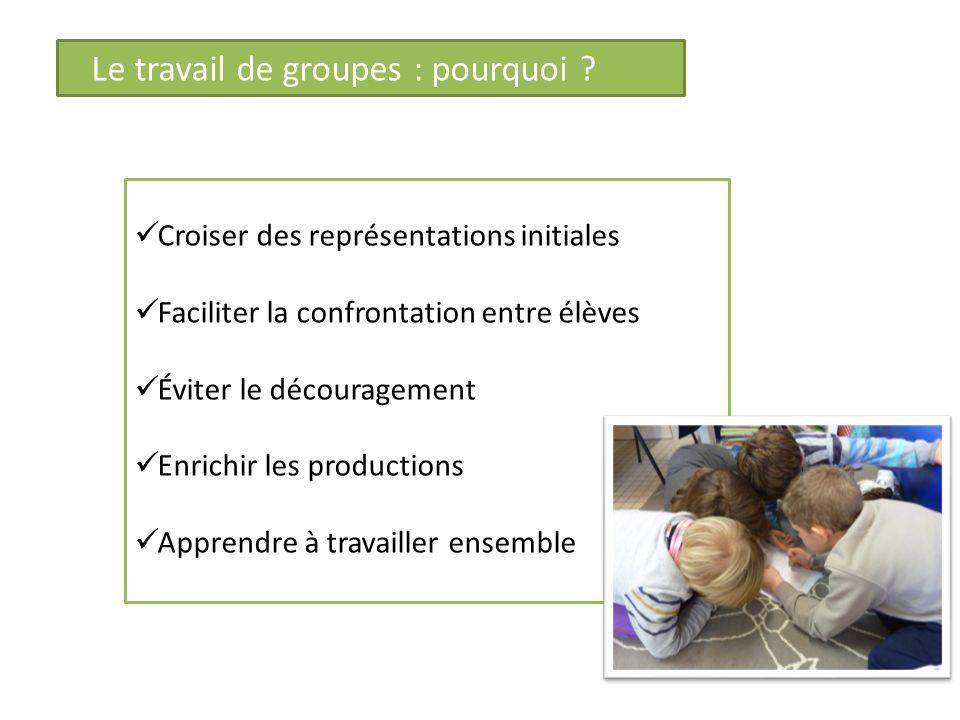 Le travail de groupes : pourquoi ? Croiser des représentations initiales Faciliter la confrontation entre élèves Éviter le découragement Enrichir les