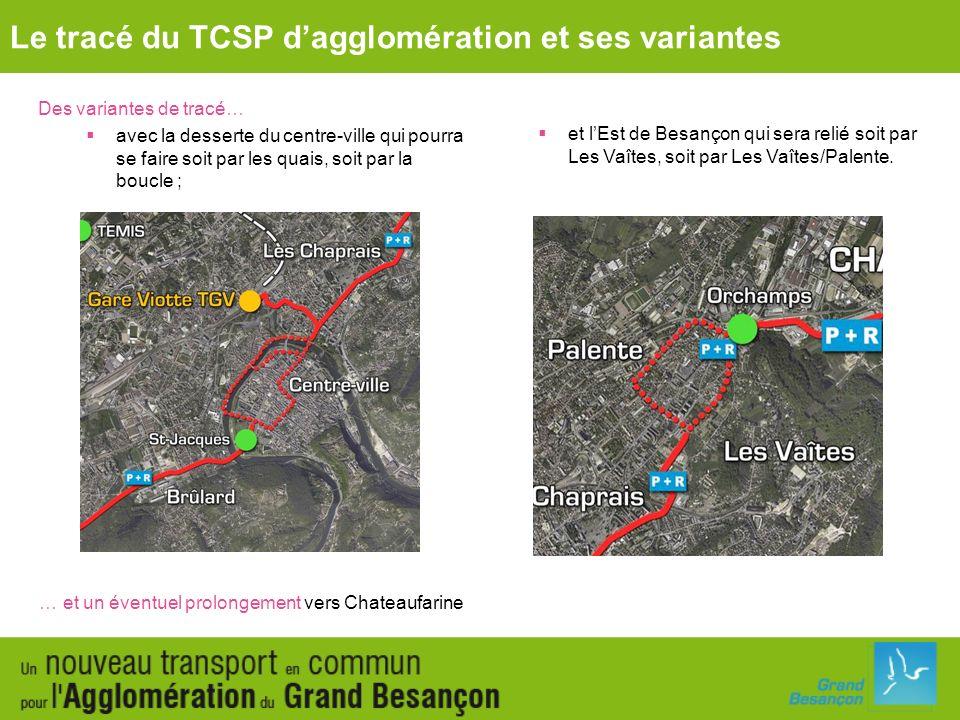 Des variantes de tracé… avec la desserte du centre-ville qui pourra se faire soit par les quais, soit par la boucle ; Le tracé du TCSP dagglomération