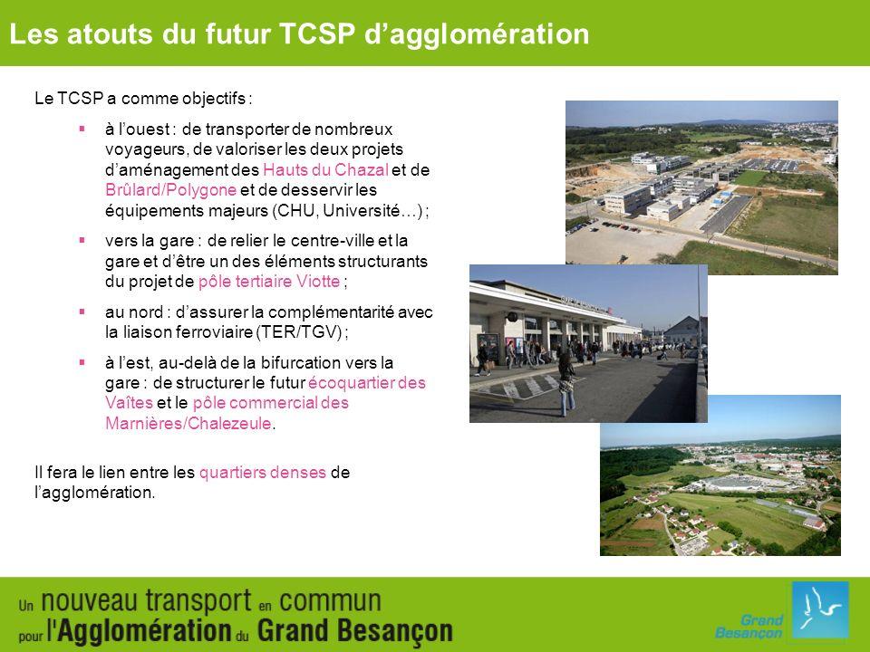Le TCSP a comme objectifs : à louest : de transporter de nombreux voyageurs, de valoriser les deux projets daménagement des Hauts du Chazal et de Brûl